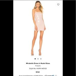 H:ours Mirabelle dress in nude gloss.